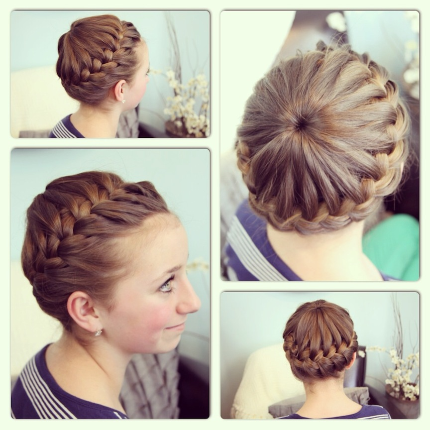 curly fade hairstyle : Starburst Crown Braid Updo Hairstyles Pictures to pin on Pinterest