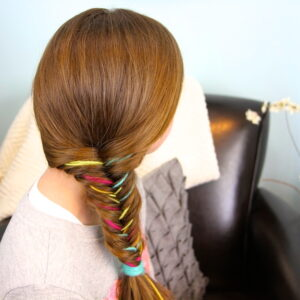 Side and back view of Yarn Fishtail Braid   Temporary Color Highlights   Cute Hairstyles