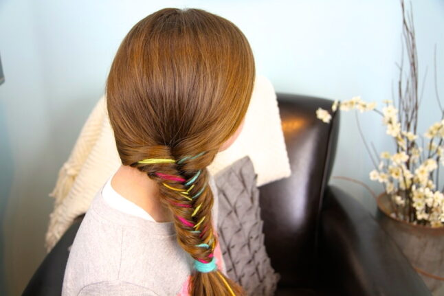 Side and back view of Yarn Fishtail Braid | Temporary Color Highlights | Cute Hairstyles