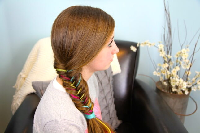 Side view of Yarn Fishtail Braid | Temporary Color Highlights | Cute Hairstyles