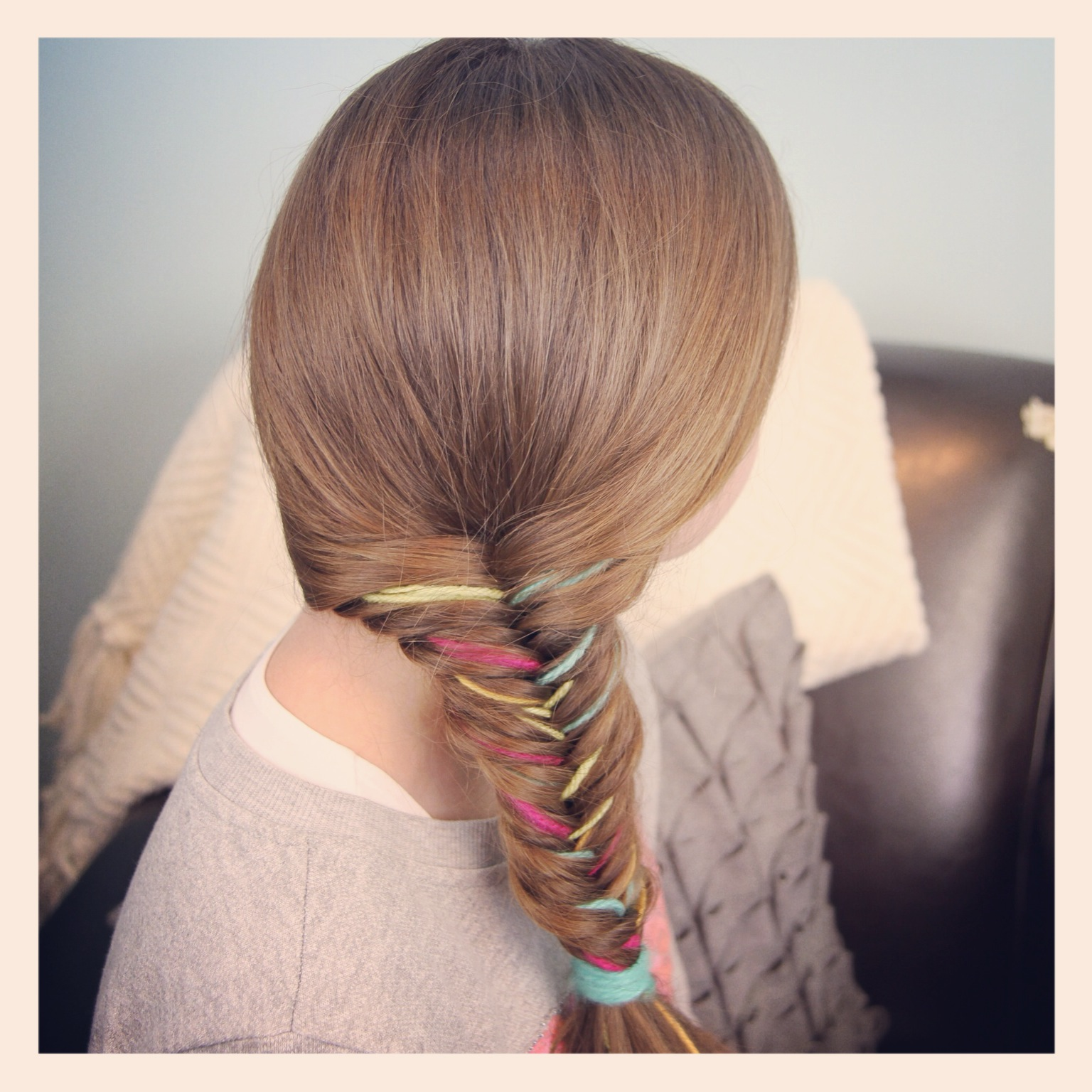 Yarn Extension Fishtail Braid  Temporary Color Highlights - Cute