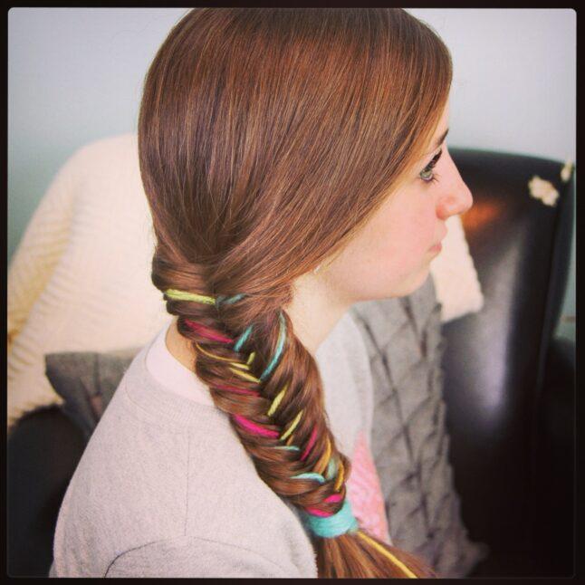 Yarn Fishtail Braid   Temporary Color Highlights   Cute Hairstyles