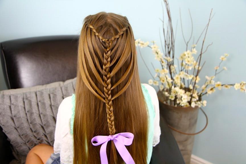Back view of Waterfall Twists into Mermaid Braid | Cute Hairstyles