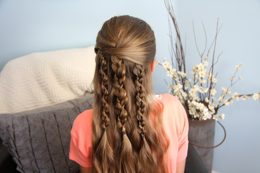 Back view of Textured Braids | Cute Hairstyle Accents