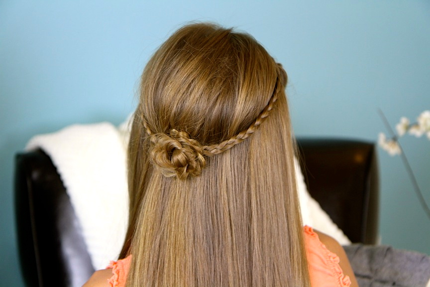 Back view of Cute Braided Flower Tieback | Hairstyles for Long Hair