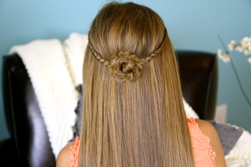 Hairstyles For Long Hair Cute : Cute Braided Flower Tieback Hairstyles for Long Hair