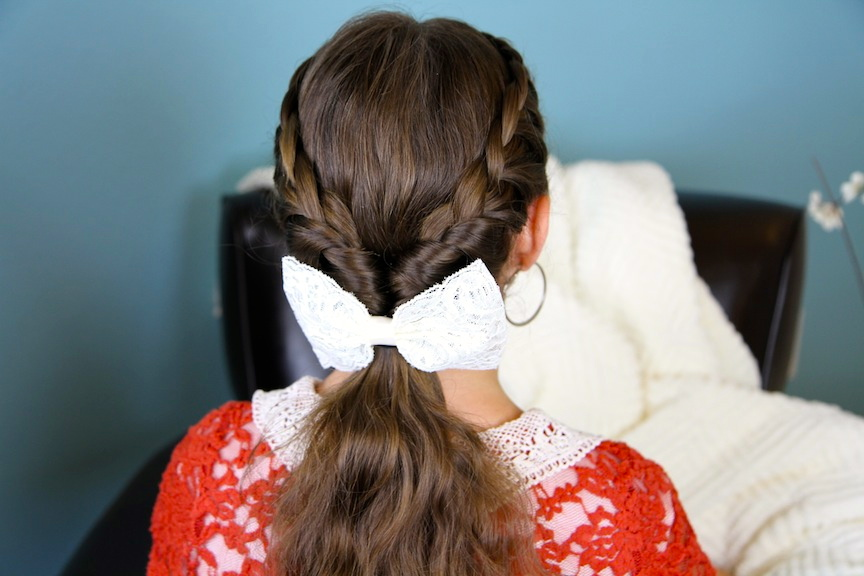 Lace Braid Twists into Ponytail