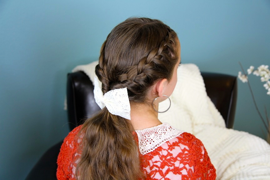 Back view of young girl modeling Lace Braid Twists into Ponytail | Hairstyles for Long Hair