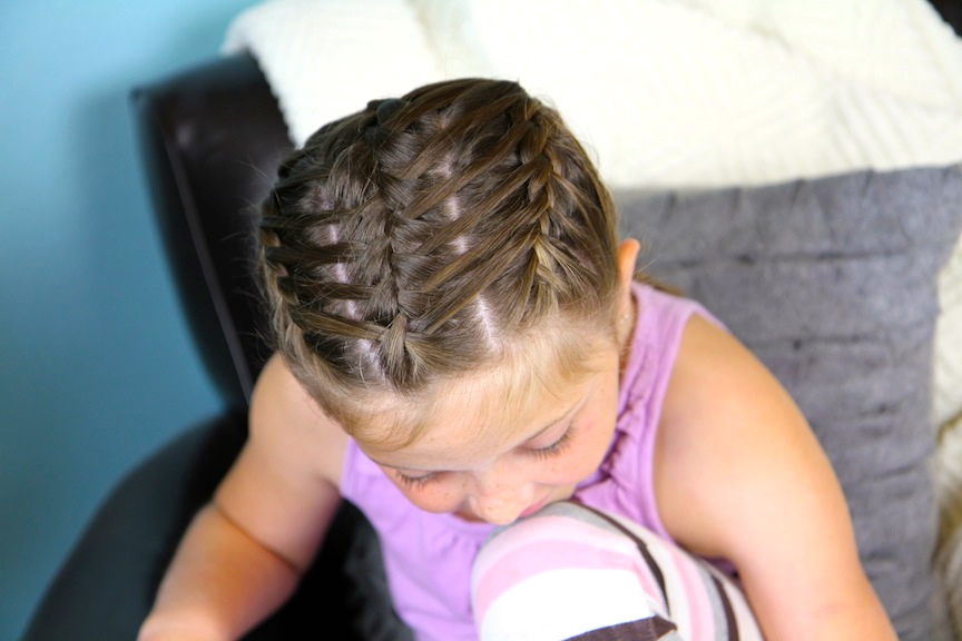 Top view of Waterfall Braids into Double Frenchbacks | Sport Hairstyles