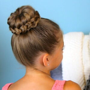 Back view of a young girl modeling Lace Braided Bun | Cute Updo Hairstyles