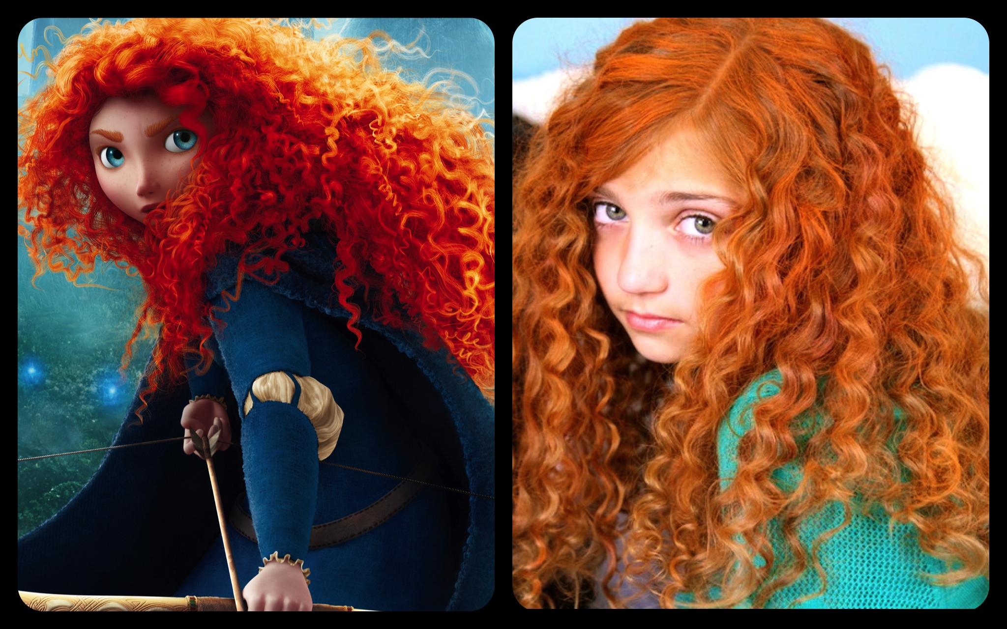 get merida's fiery and curly red hair | disney princess hairstyles