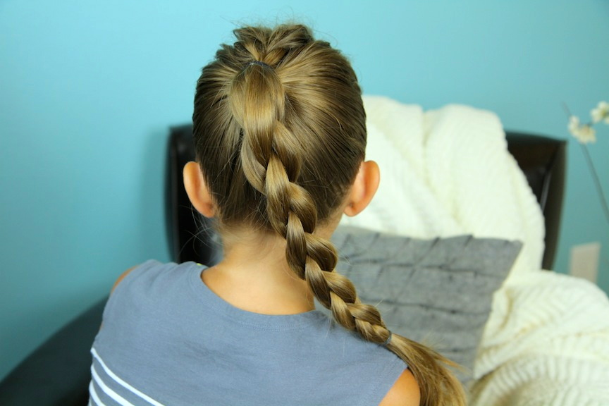 Back view of young girl modeling Single French back into Round Braid | Back-to-School Hairstyles
