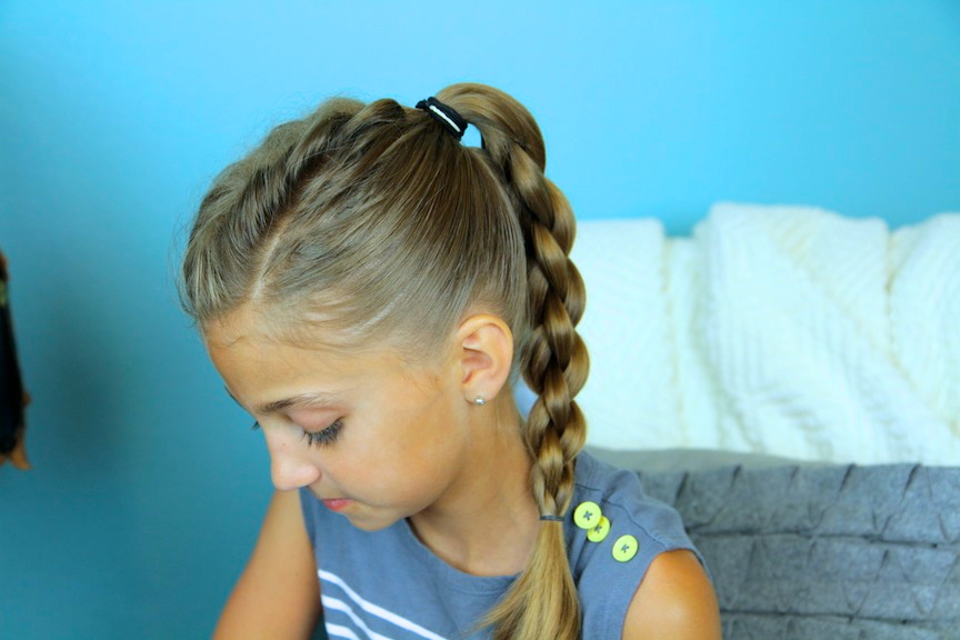 Young girl modeling Single French back into Round Braid | Back-to-School Hairstyles