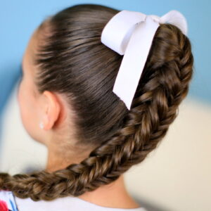 Back view of young girl modeling Box {4-Sided} Fishtail Braid | Cute Braids