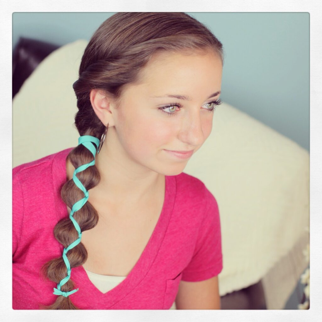 Cute Girls Hairstyles: Ribbon-Accented Loony Braid