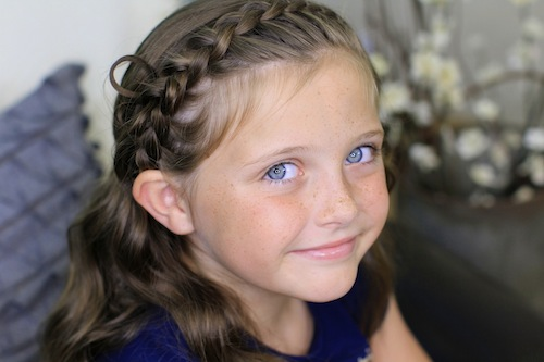 Portrait of young girl modeling Butterfly Braided Headband | Cute Braids