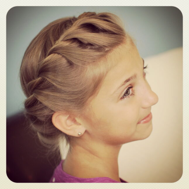 Portrait of young girl modeling Crown Rope Twist Braid | Updo Hairstyles