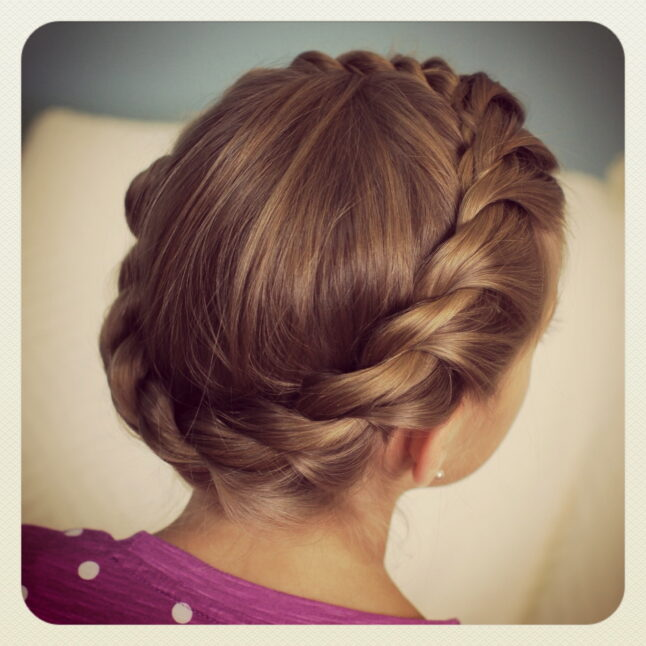 Back view young girl modeling Crown Rope Twist Braid | Updo Hairstyles