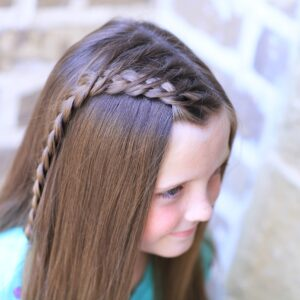 Young girl outside modeling Crossover Dutch Braid | Cute Girls Hairstyle