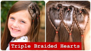 Triple Braided Hearts | Valentine's Day Hairstyles