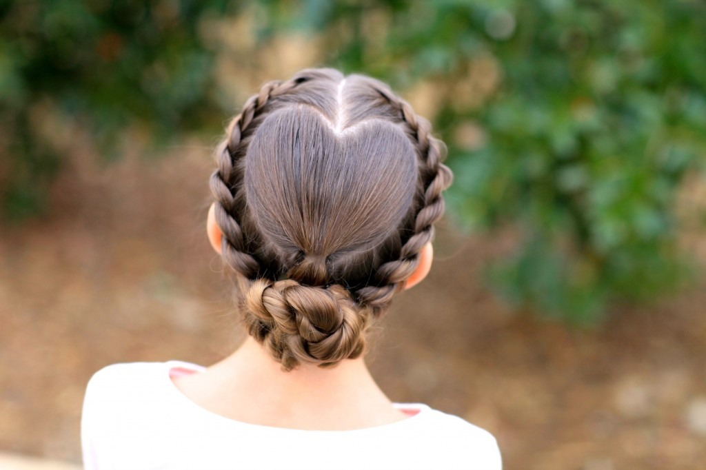 Young girl outside modeling Rope Twisted Heart | Valentine's Day Hairstyles (Back)
