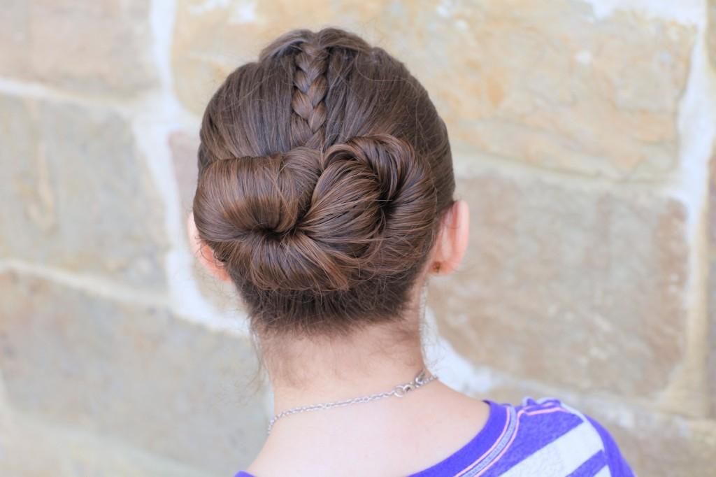 Young girl outside modeling Infinity Bun | Updo Hairstyles