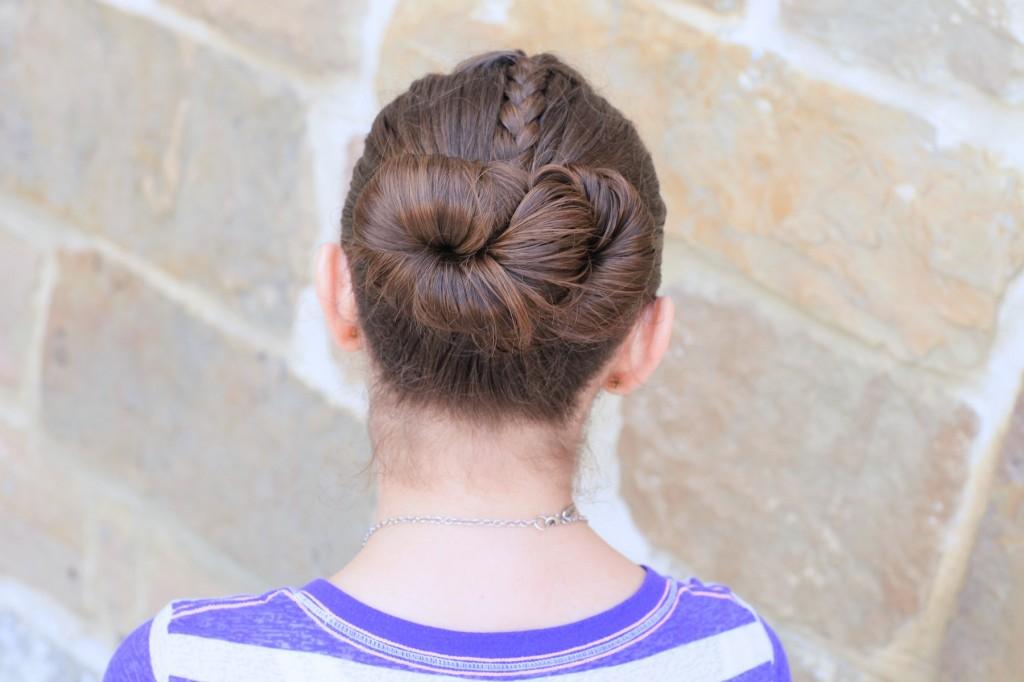 Young girl outside modeling Infinity Bun | Updo Hairstyles (Back)