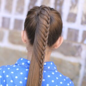 Young girl outside modeling Lace Braided Ponytail | Cute Hairstyles