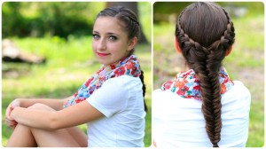 front and back view of the Laced Fishtail Braid