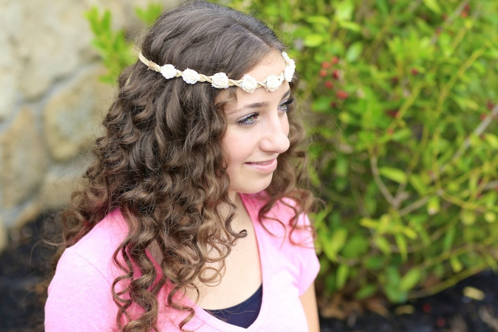 Young girl modeling No-Heat Paper Towel Curls