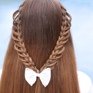 Young girls outside by the pool modeling Half-Loop Braidback (Back)