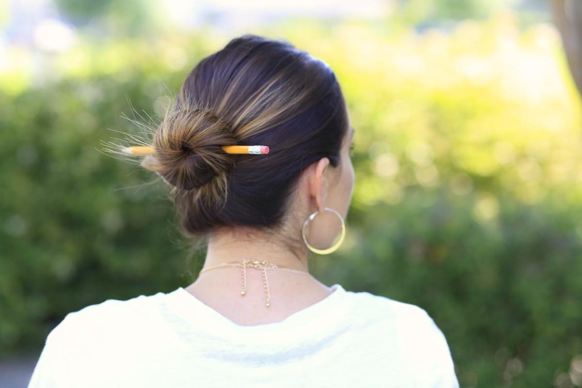 3 Easy Pencil Bun Ideas Back To School Hairstyles Cute Girls