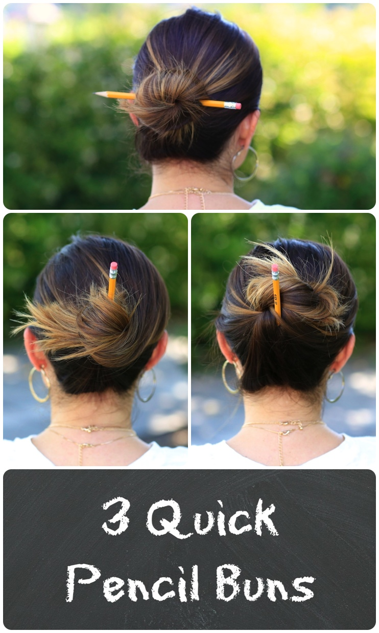 3 Easy Pencil Bun Ideas Back To School Hairstyles Cute Girls