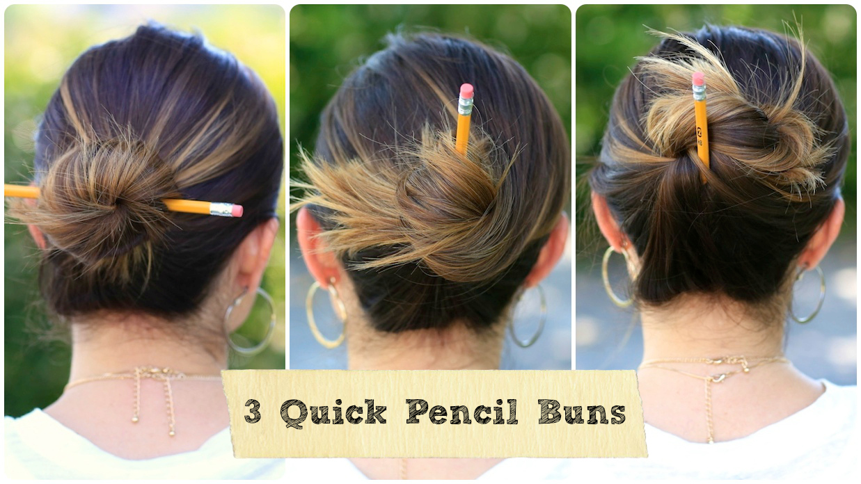 3 Easy Pencil Bun Ideas Back To School Hairstyles Cute