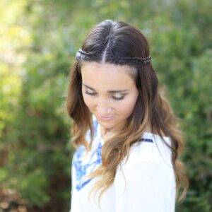 Woman outside modeling Boho Lace Tieback | Bohemian Chic Hairstyles