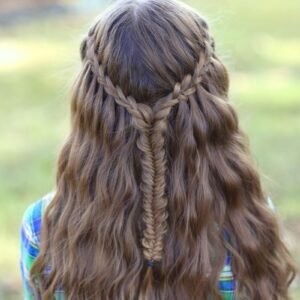Young girl outside modeling Scissor Waterfall Braid Combo