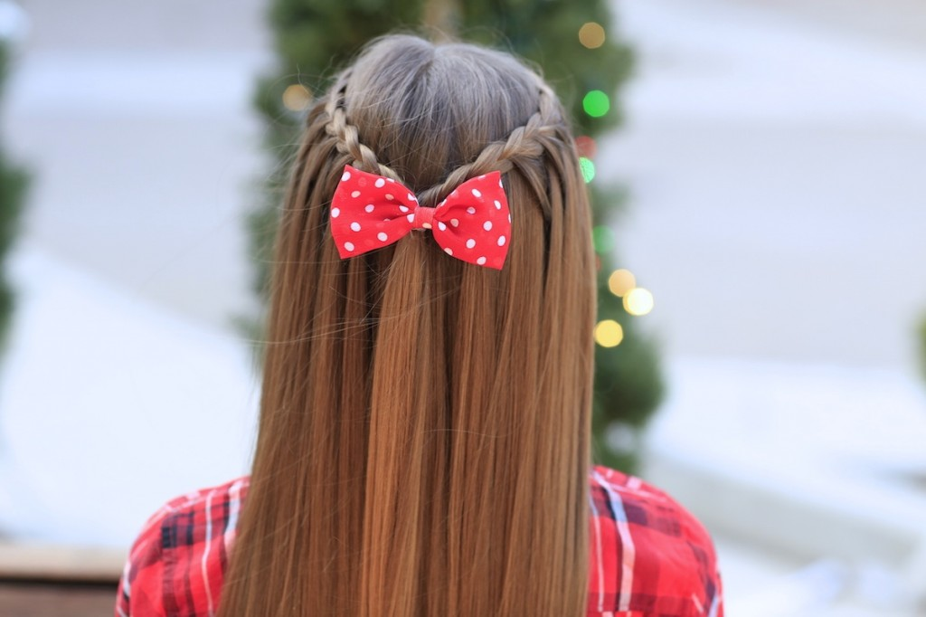 Young girl outside modeling Upward Lace Braid