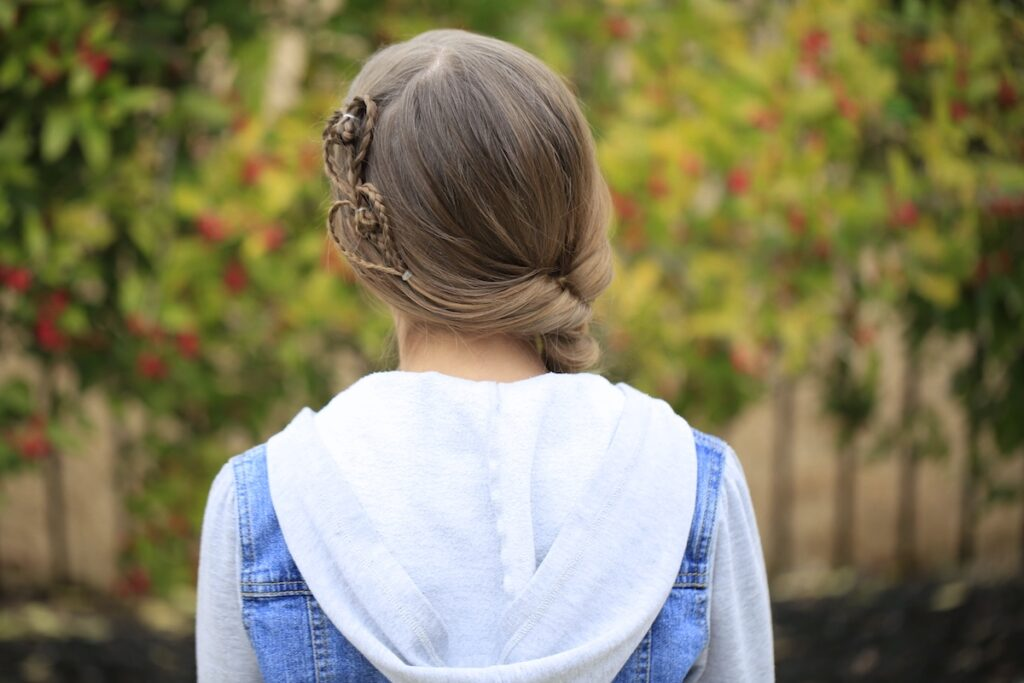 Little girl outside modeling Cute Heart Accents | Valentine's Day Hairstyles