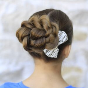 Young girl outside modeling Rope Twisted Bun | Hairstyles for Prom