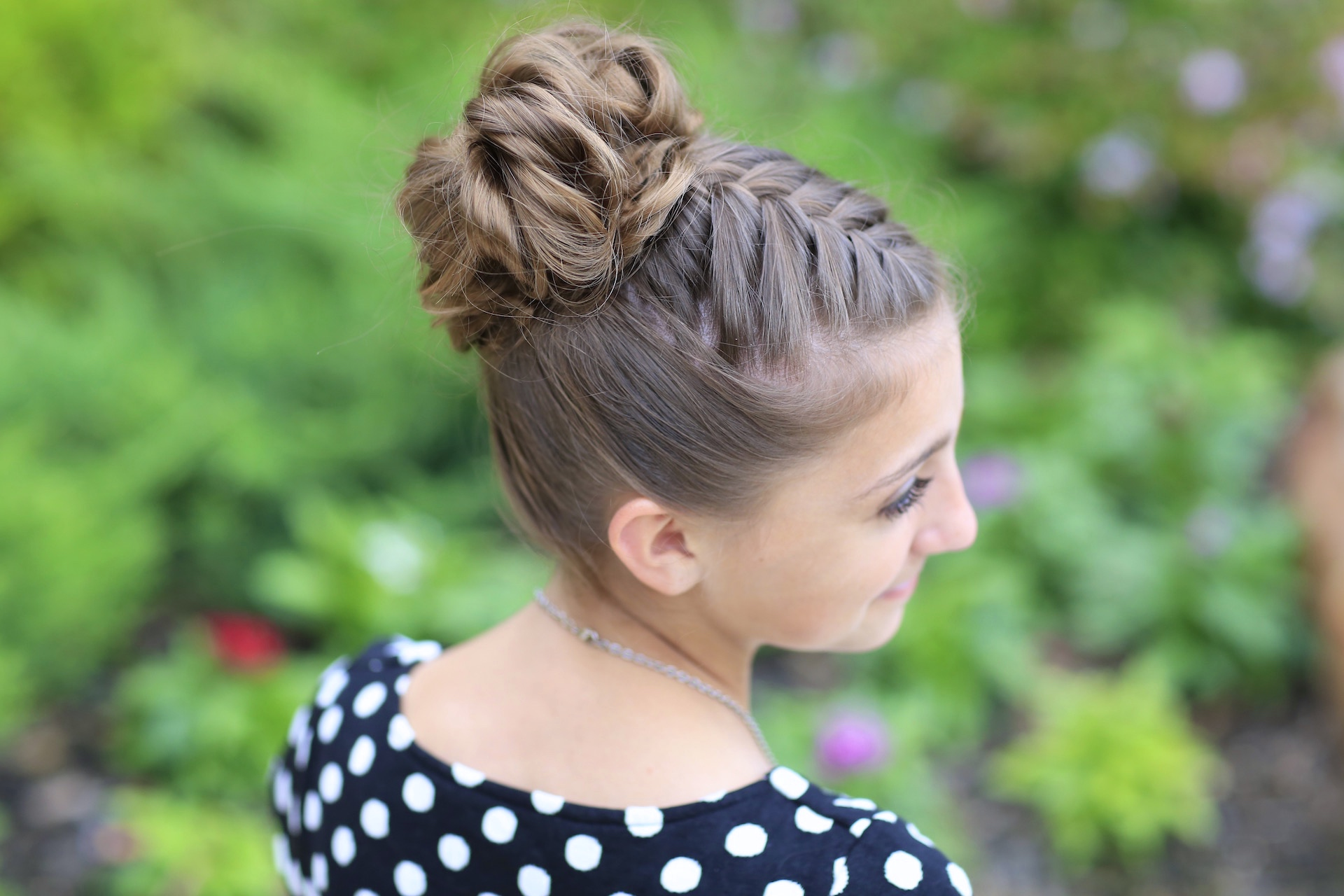 Hairstyles: Double-French Messy Bun Updo