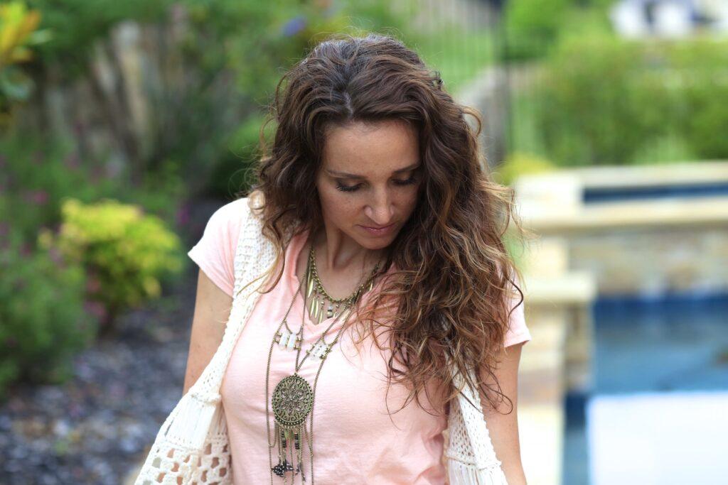 Woman outside Plopping No-Heat Curls