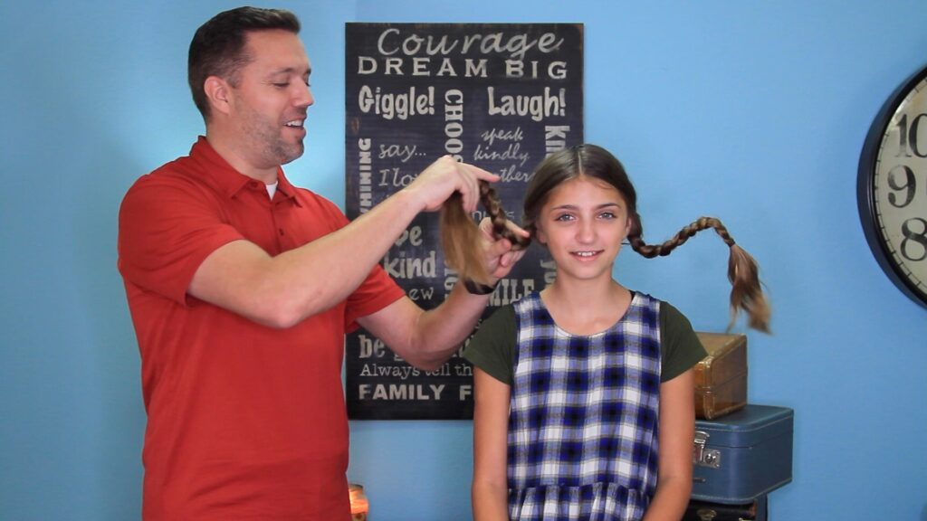 Dad does hair! Pippi Longstock Braids | Easy Halloween Hairstyles