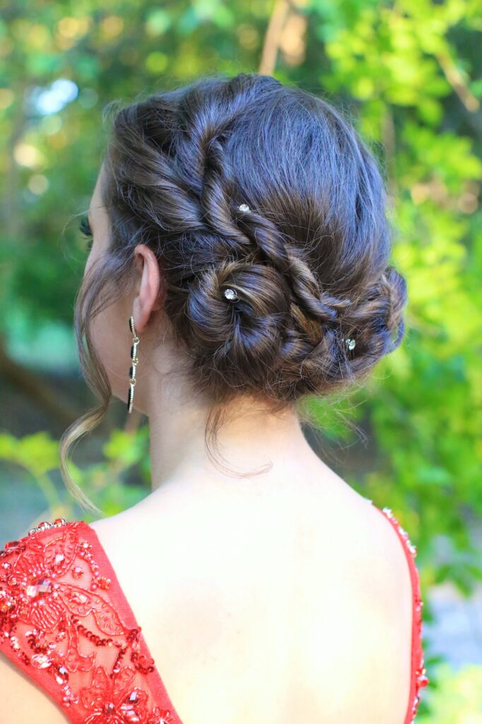 Love this simple style for homecoming or prom! Even works for short hair! #cghRopeTwistUpdo #twists #hairstyles #hairstyle #braid