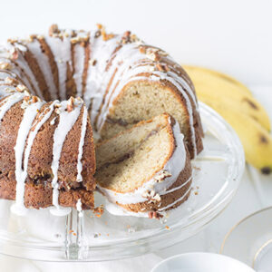 Banana Pecan Coffee Cake- a moist coffee cake with a brown sugar and pecan filling.