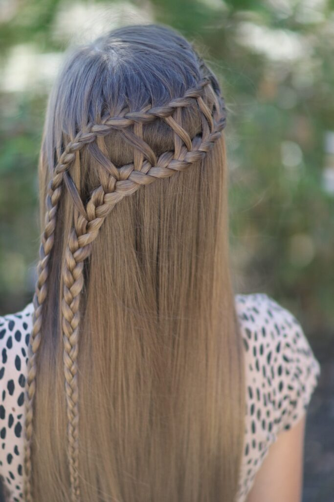 Young girl outside modeling Lattice Braid Combo