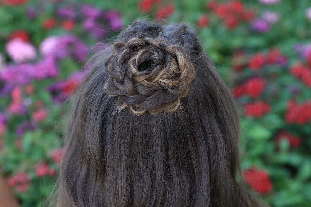 Young girl modeling Half-Up Rosette Combo | Homecoming Hairstyles (Back)