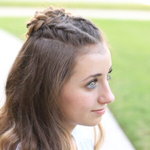 Portrait of young girl modeling Half-Up Rosette Combo | Homecoming Hairstyles