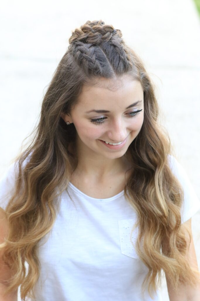 Young girl modeling Half-Up Rosette Combo | Homecoming Hairstyles