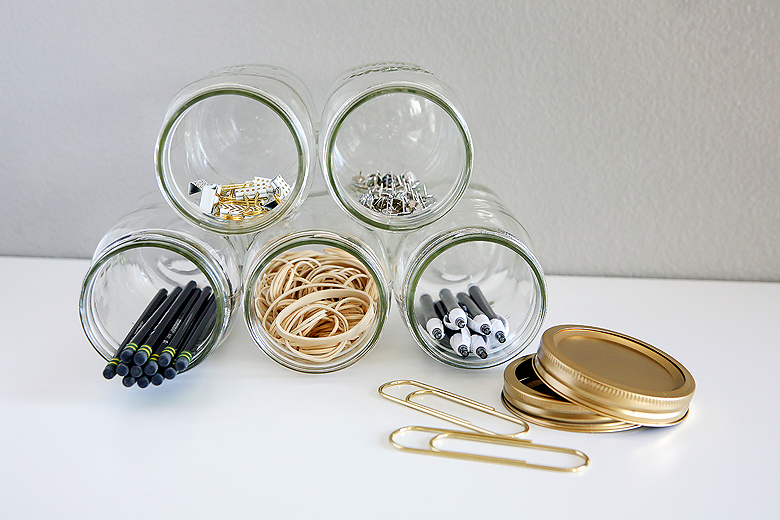Mason Jar Organizer | Desk Supplies