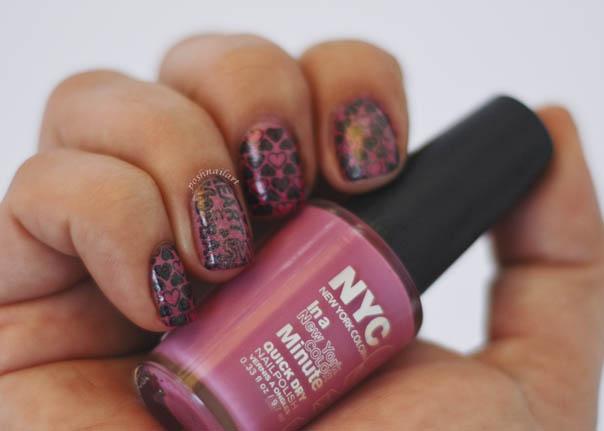 Valentine Pink Heart Nails